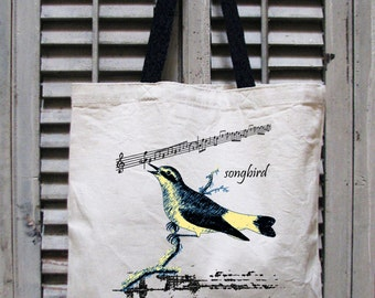 tote bag canvas - music tote bag - music gift - book bag - book tote - music teacher gift - music note - nature prints - SONGBIRD - tote bag
