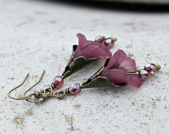 Flower Dangle Earrings - Antique Brass, Mauve, Bohemian Czech Glass, Woodland