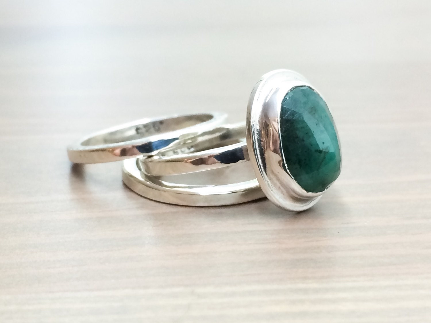 stacking emerald rings cut green by hottorstudio
