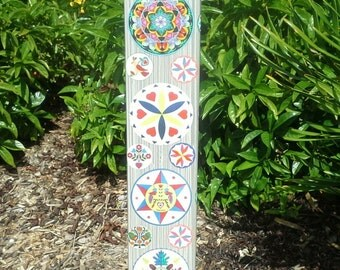 Garden Art Peace Pole - Hex Signs