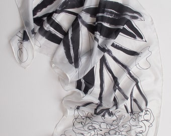 Classy black and white silk scarf/ Floral scarf/ Handpainted silk shawl/ Bridal shawl modern style/ Abstract silk painting/Lightweight scarf