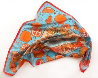 Pomegranates silk scarf/ Square scarf hand painted/ Aqua red scarf, Fruits scarf, Designer scarf/ Habotai silk, Gift for mom, Bright scarf