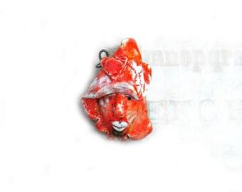 Focal bead,one of a kind bead, handmade face bead,  handmade clay bead     # 86