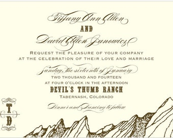PRINTABLE Mountain Ranch Wedding Invitation - Collection options available