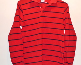 "70s Polo Shirt Henley Vintage Long Sleeved Rugby T-Shirt Red with Dark Blue Stripes 36""Chest 24""Long Cotton Top Tee. Sibleys SALE"