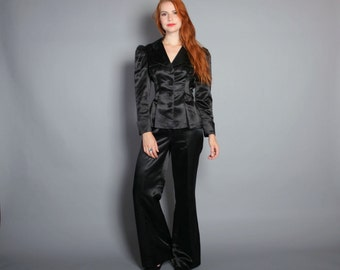 Vintage 70s PANT SUIT / 1970s Black SATIN Puff Sleeve Blazer & Wide Leg Pants xs-s