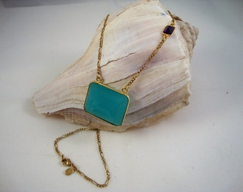 Vintage 14KGE gold necklace with natural aqua chalcedony pendant and natural amethyst connector