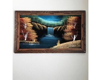 Vintage Velvet Painting Waterfall Scenery