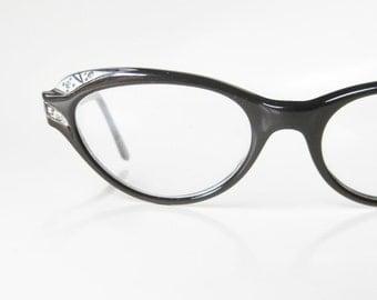 Black Cat Eye Glasses 1960s Midnight Liberty USA Rhinestone Art Deco Detail Shine Sparkly 60s Cateye Mid Century Mad Men Obsidian Womens