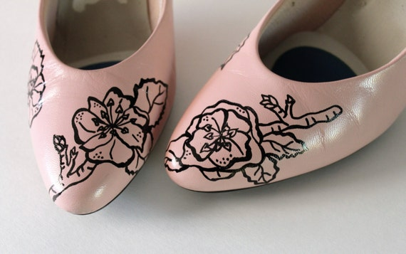 vintage pink heels wedding shoes prom shoes painted