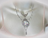 Upcycled Bridal Necklace. Antique Silver. Something Old Something New