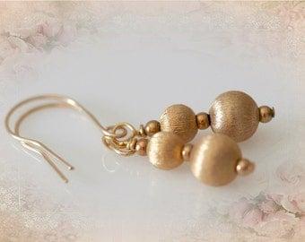 Gold Deco Earrings. Vintage Repurposed Jewelry
