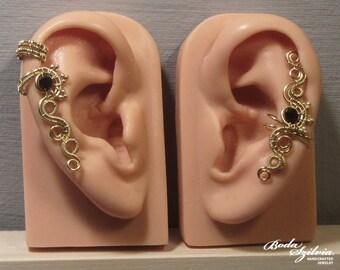 Goddess EAR CUFF SET -  wire wrapped ear cuff, cartilage earcuff, crystal earwrap, no piercing earcuff, adjustable ear cuff, elegant jewelry