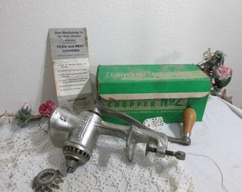 Food Grinder Meat Chopper Vintage Universal No. 2 Original Box with Instructions