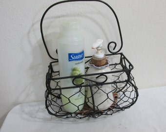 Basket Wicker and Wire Organizer Caddie Wall Pocket Plant Hanger