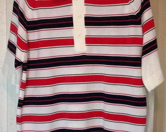Vintage 60s 70s Golf Ban Lon Shirt by Richard Owens, Striped Banded Waist and Arms