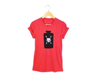 Poison Tee - Boyfriend Fit Crew Neck T-shirt with Rolled Cuffs in Heather Red & Black Bottle - Women's Size S-4XL