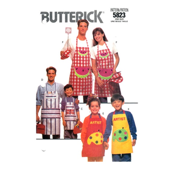 Apron Sewing Pattern Butterick 5823 Personalized Chef Hat Mitt Potholder Alphabet