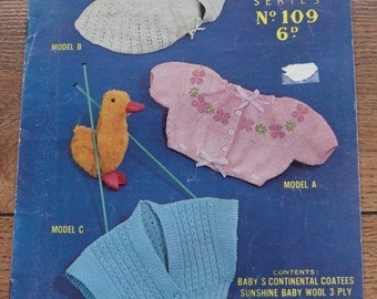 Vintage 40s 50s knitting pattern Sirdar Sunshine series no. 109 BABY CONTIENTAL COATEES sz 3-6 months
