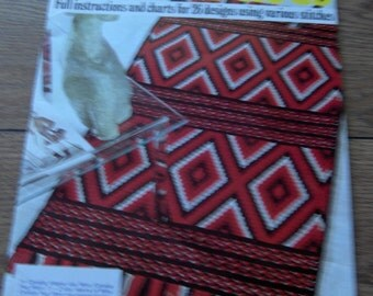 vintage 70s handbook of STITCHED RUGS 26 designs using various stitches