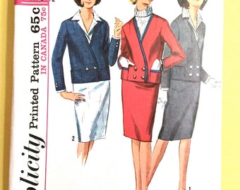 1960s Simplicity 5595 Misses' Suit Detachable Dickey, Cuffs Jacket front button closing,  side zipper Vintage Sewing Pattern Bust 31.5