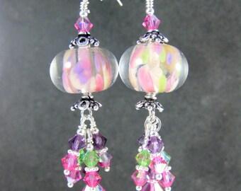 Pink Purple Green Crystal Earrings, Boho Chic Dangle Earrings, Colorful Pastel Glass Earrings, Bohemian Jewelry. Lampwork Earrings