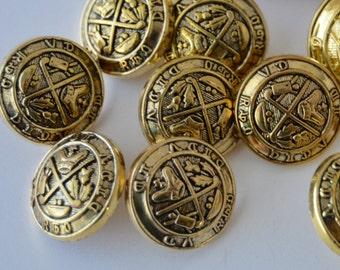 Golf King Antique Gold Shank Buttons - 3/4 inch x 8