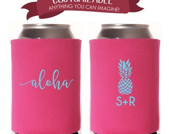 Aloha Hawaiian Themed Can Coolie, Wedding Favors Fun Wedding Party Gifts Wedding Anniversary Party Gifts Custom Beverage Can Coolie 2D100
