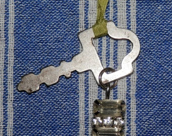 Found Treasures Charm Necklace Key and Rhinestone Pendant on Silk Ribbon Vintage Findings OOAK