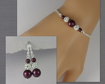 Blackberry Plum Pearl Bridesmaid Bracelet Set, Bridesmaid Jewelry, Plum Bridesmaid Gift, Swarovski Plum Blackberry Pearl Wedding Jewelry Set