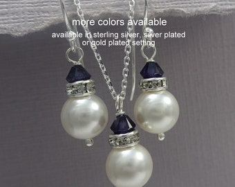 Navy Jewelry Set, Swarovski Pearl Bridesmaid Set, White Pearl Jewelry Set, Navy Jewelry Set, Bridesmaid Gift, Blue Necklace and Earring Set