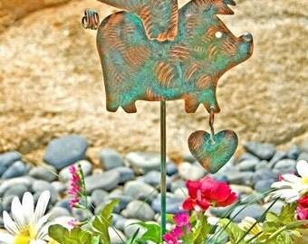 ON SALE Flying Pig Handmade Stake / Metal Garden Art / Copper Art / Yard Art / Farm Animal / Outdoor Decor / When Pigs Fly / Barnyard Sculpt