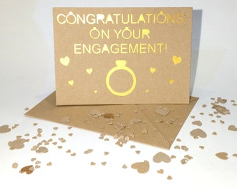 Congratulations On Your Engagment  - handmade pearlescent/glittery greetings card, engagement, wedding, party. personalisation available