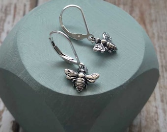 Silver Bee Earrings, Honey Bee Jewelry, Sterling Silver, Bumblebee, Bee Charm, Gift for Gardener, Nature, Insect, Small Dangle Drop Earrings