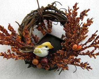 Bird and Rustic Birdhouse Christmas Ornament 404