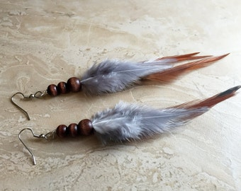Feather Earrings - Brown and Gray Beaded Feather Earrings