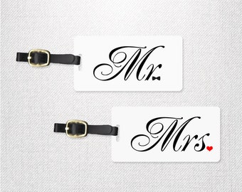 Luggage Tag Set Mr Bowtie and Mrs Heart Wedding Tags , Personalized Luggage Tags Metal Tag Set Personalized with Address Message or Quote