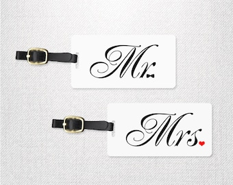 Mr Bowtie and Mrs Heart Wedding Tags , Personalized Luggage Tags Metal Tag Set Personalized with Address Message or Quote  2 Tags