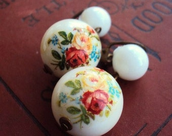 Vintage Mid Century Earrings West Germany Brass Clips White Beads Floral Roses Flowers Shabby Chic Kitsch Mad Men era Costume Jewelry