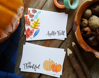 Hello Fall and So Thankful MINI Note Cards, Autumn, Stationery, Hand Drawn, Illustration, Thanksgiving, Note cards, little note card