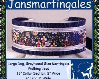 Jansmartingales, Navy Blue Walking Lead, Dog Collar and Lead Combination, Greyhound, Large Dog Size, Nvy116