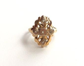 V I N T A G E // 14k art nouveau geometry / yellow and white gold with tiny diamonds / size 3.75