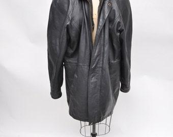 vintage leather jacket OVERSIZED coat black leather los angeles 1980s