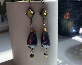 Long Dangling Glass Bead Earrings