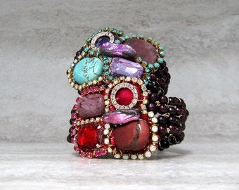 Friendship Cuff Bracelet -Colorful Small Cuff with Hot Pink Red or Purple Turquoise Stones & Rhinestones Wired  by Sharona Nissan