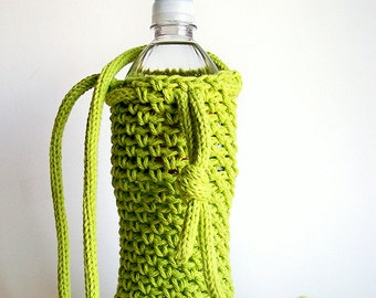Greenery Water Bottle Holder, Water Bottle Cover, Crochet Water Bottle Cozy, Crochet Bottle Holder, Yoga Water Bottle, Neon Green Vegan Gift