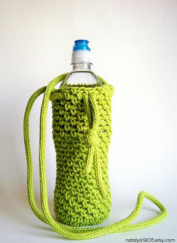 Water Bottle Holder, Water Bottle Cover, Crochet Water Bottle Cozy, Crochet Bottle Holder, Yoga Water Bottle, Neon Green, Vegan Gift