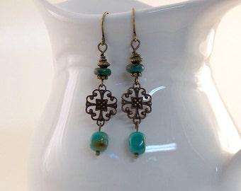Vintaj Brass Turquoise Earrings - Boho Earrings - Brass Earrings - Wire Earrings - Natural Turquoise Earrings - Long Earrings -Artisan Style