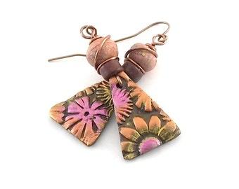 Orange and Pink Earrings - Flower Earrings - Copper Earrings - Antique Copper - Lightweight Earrings - Boho Earrings - Polymer Clay Earrings