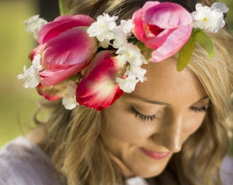Talulah Floral Crown Silk Flower Crown Maternity Photoshoot Wedding Accessory
